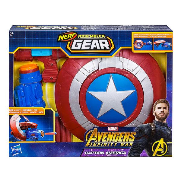 Vespoli Giocattoli Hasbro Scudo Capitan America Assembler Gear Nerf