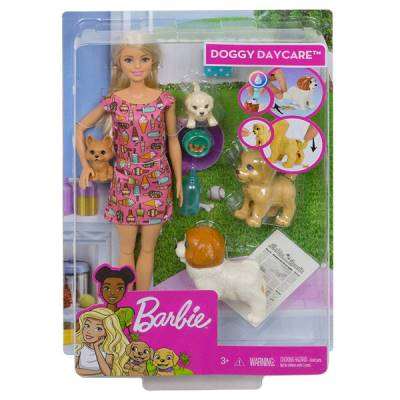 MATTEL BARBIE DOGGY DAYCARE PLAYSET DOGSITTER CON BAMBOLA